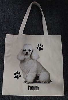 Med. Sized White Poodle Dog Canvas Tote Bag Shopping Bag Grocery Bag Reusable