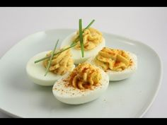 Delicious Gluten Free Deviled Eggs - So Funny thing though - is when you bring these to a party, they are usually the first thing to go. Gluten Free Recipes Videos, Bacon Dates, Deviled Eggs, Sweet And Salty, Main Meals, Food Videos, Food To Make, Cooking Recipes, Sour Cream