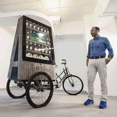 Bike Cart Kiosk, Event Cart, Party Cart, Upcycled Pop Up Shop, Mobile Activation Bike Kiosk Design, Booth Design, Store Design, Bike Cart, Bike Food, Velo Cargo, Digital Retail, Food Stands, Mobile Shop