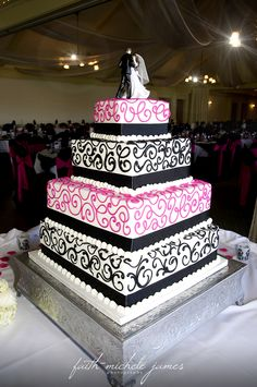 Black and pink contemporary wedding cake