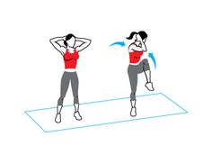 2. Muffin-Top Workout: Standing elbow crossover  Works your back, abs, and obliques    A. Stand with feet hip-width apart, hands behind head, elbows wide to sides.    B. Lifting left knee, twist and lower right elbow to meet knee, as shown (don't let elbow fold in). Return to start. Do 20 reps on each side.