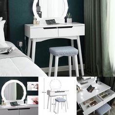 SEA156 - Masă makeup cu LED - #masadetoaleta #eMobili #makeup #machiaj #mobilierpentrusuflet Makeup Dressing Table, Office Desk, Mirrors, Vanity, Furniture, Ideas, Home Decor, Vanity Area, Homemade Home Decor
