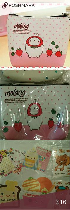Kawaii Molang pouch 5x4 zipper w kawaii bonus Adorable restocked he sold out so fast this is single kawaii pouch brand new never used perfect for coins money trinkets  Molang stickers   Bonus kawaii see last pic for stationary bonus ur mystery pack will be similar n vary I have all types of cutw buttons erasers sticker flakes memo sheets pens and things squishys slime many free bonus so worth the price I do sell my kawaii grab bags for $8-12 elsewhere but it's free here w ur order   U are…