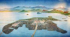 """""""Panorama del valle, de la laguna y la ciudad de Tenochtitlán"""", de Miguel Covarrubias, """"El Chamaco"""""""