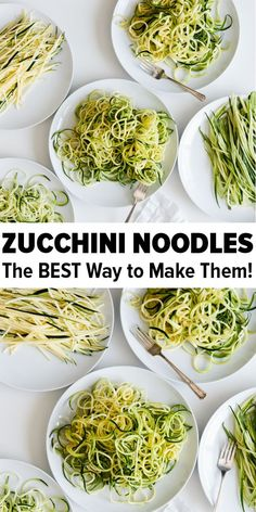 """Zucchini noodles """"zoodles"""" are healthy and perfect for gluten-free, vegetarian, vegan, keto and paleo recipes. Learn how to make and cook zucchini noodles - it's so easy! dinner zoodles How to Make and Cook Zucchini Noodles (Zoodles) - Beginner's Guide Zucchini Zoodles, Cook Zucchini Noodles, How To Cook Zucchini, Zucchini Noodle Recipes, Cooking Zucchini, Keto Noodles, Zucchini Noodles Spaghetti, Paleo Menu, Vegetarian Recipes"""