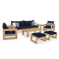 RST Brands Benson Wood Patio Conversation Set with Sunbrella Navy Blue Cushions Patio Furniture Sets, Colorful Furniture, Living Room Furniture, Home Furniture, Furniture Design, Modern Furniture, Furniture Outlet, Cheap Furniture, Antique Furniture