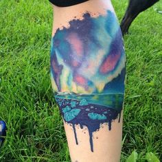 tatouageaquarelle northern lights tattoo