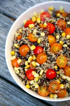 If you're looking for a super simple vegan salad that's bursting with protein, can be enjoyed warm or cold, and uses up Summer veggies, make this 300-calorie quinoa salad.