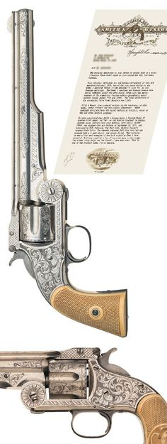 Stunning Nimschke New York Engraved Smith & Wesson Model Three, First Model Russian Single Action Revolver with Hand Carved Grips and Factory Letter.