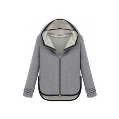 Asymmetric Color Block Light-grey Hooded Coat #pariscoming your personal style online store. like it? buy now.