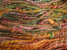 Handspun yarn made from dog fur. Chiengora=Samoyed fur. Dyed with acid dyes, handspun by Joy Hayworth/Fabulosity Yarn.