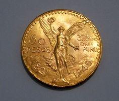 Numismática - Preciosíssima Moeda de 50 Pesos Mexicanos, do ano de 1945, com Peso Impresso de 37,5g,