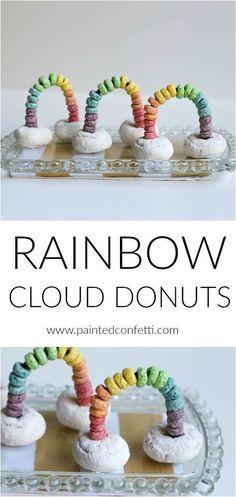 Rainbow Cloud Donuts for St. Patrick's Day Breakfast - Painted Confetti - Rainbow Cloud Donuts for St. Patrick's Day Rainbow Cloud Donuts for St. Patrick's Day Rainbow C - St Patrick Day Snacks, St Patricks Day Food, St Patricks Day Snacks For School, Saint Patricks, Edible Crafts, Edible Art, Kids Food Crafts, Food Art For Kids, Edible Food