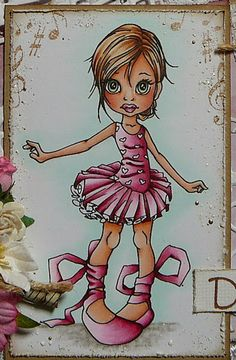 Cards by Astrid ~ SC ~ CD Complete Cardmaking -Copics: Skin: E0000, 000, 00, 21, 11, R30, 20 Hair: E50, 51, 53, 33, 35, 37 Pink: RV000, 10, R81, 83, 85, 89 Eyes: G20, 40, YG61, 63, 67 Soil: W2, 4 and blender Shadow: G0000 White: C00, 1 corrugated piece edged w/Gesso, Frantage, heart doily, dies: music, feather, birdcage, pieces, musical stamped edge