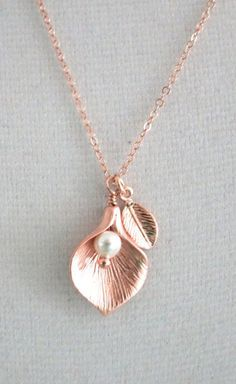 Calla Lily necklace rose gold leaf pearl