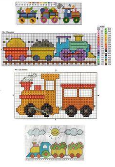 trenzinhos-bebe-ponto-cruz-500x350 Graficos de trenzinhos para bebês. Ponto Cruz infantil