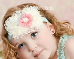 Ivory and Pink Flower Shabby Chic Baby Headband