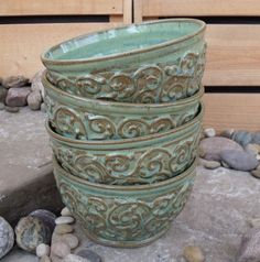 """Hand thrown cereal bowls with slip trailed decoration.  3"""" high, 5 1/2"""" diameter"""