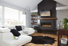 Ideas Living Room With Tv And Fireplace Rugs Living Room Grey, Living Room Furniture, Living Room Decor, Home And Living, Cozy Living, Small Living, Modern Living, Home Fireplace, Fireplace Design