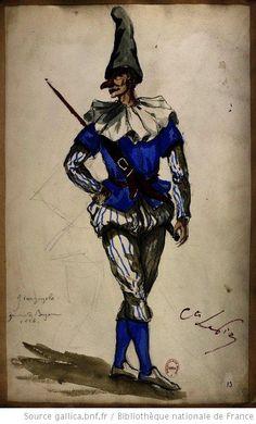 Giangurgola..   [Les jumeaux de Bergame : vingt maquettes de costumes / par le comte Lepic] Auteur : Lepic, Ludovic Napoléon (1839-1889). Dessinateur Date d'édition : 1885-1886