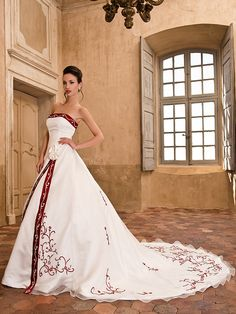 Directsale A Line Wedding Dress Chapel Train Organza Satin Strapless With Embroidery Crystal Detailing and Split Front Free Measurement Wedding Dress Train, Elegant Wedding Dress, Wedding Dress With Red, Colored Wedding Dresses, Bridal Dresses, Cheap Wedding Dresses Online, Blue Evening Dresses, Beautiful Dresses, Marie