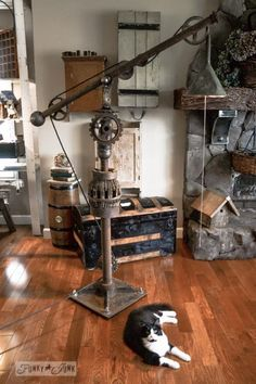 DIY Vintage Big Floor Lamp is part of Industrial floor lamps - Very nice tutorial on Funky and Junk if you have some parts make your own huge rustic vintage floor lamp!
