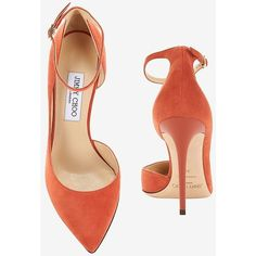 Jimmy Choo Lucy 1/2 D'Orsay Suede Pump: Coral ($695) ❤ liked on Polyvore featuring shoes, pumps, pointed toe d orsay pumps, jimmy choo pumps, jimmy choo shoes, dorsay pump and suede shoes