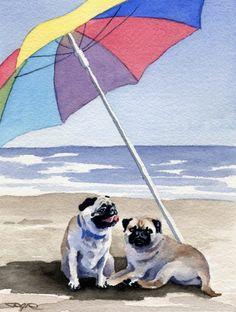 Pugs on the beach art