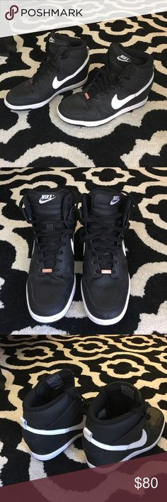 Custom Nike Sky Hi Dunk Wedge Sneakers Excellent condition! Only worn a couple times. Made via NikeID. Have rose gold hardware on the laces with my initials on it but can easily be flipped over to the plain side or removed Nike Shoes Sneakers