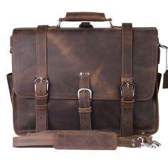 Men Vintage Messenger Bags shoulder bags Breifcase Genuine Leather Bags fits 15 inch laptop#XZ108
