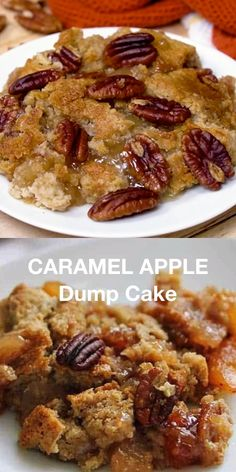 Caramel Apple Dump Cake - A simple recipe for Caramel Apple Dump cake made with butter pecan cake mix and apple pie filling! A simple recipe for Caramel Apple Dump cake made with butter pecan cake mix and apple pie filling! Blueberry Dump Cakes, Apple Dump Cakes, Dump Cake Recipes, Pecan Recipes, Sweet Recipes, Cooking Recipes, Chocolate Dump Cakes, Caramel Apple Dump Cake, Gourmet Caramel Apples