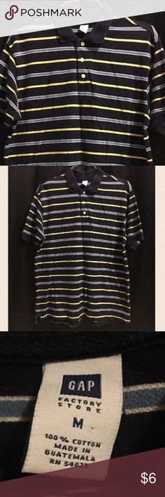 """Men's Gap Top Dark blue light blue & yellow in color,three buttons with collar style,shoulder width 6 3/4"""", sleeve length 9 1/2"""",full length front 27 1/2"""", full length back 28 3/4"""" chest width 17 1/2"""". GAP Shirts"""
