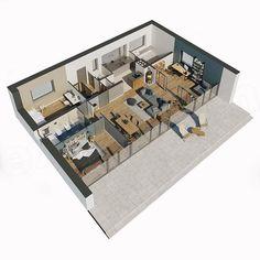 Projekt domu Murator C365a Przejrzysty - wariant I 92 m2 - koszt budowy 133 tys. zł - EXTRADOM Modern Bungalow House, Bohinj, House Of Beauty, Forest House, Modern Barn, Model Homes, House Colors, Planer, My House