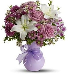 Precious In Purple Bouquet - The stunning bouquet includes white Asiatic lilies, purple alstroemeria, white waxflower, lavender button spray chrysanthemums, purple cushion spray chrysanthemums and lavender roses accented with fresh greenery. Purple Flower Bouquet, Purple Flowers, Pink Roses, Pink Purple, Elegant Flowers, Beautiful Flowers, Purple Cushions, Online Florist, Local Florist
