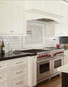 Kitchen Mosaic Backsplash And White Subway Tiles Backsplash Kitchenbacksplah