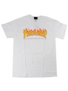 Thrasher Tee Flames White Black