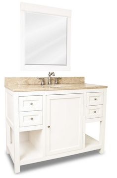 Distressed Shaker Vanity Set, White, Extended Drawer  Click here to purchase: http://www.houzz.com/photos/13173121/lid=4599262/Distressed-Shaker-Vanity-Set-White-Extended-Drawer-traditional-bathroom-vanities-and-sink-consoles