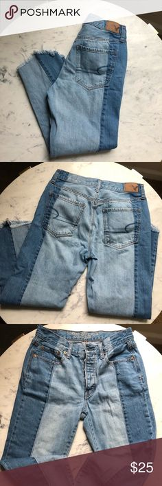 American Eagle Vintage High Rise Frayed Bottoms These are unique American Eagle Jeans. Great Condition. Not stretchy. Size 6. Smoke free home. No trades. American Eagle Outfitters Jeans
