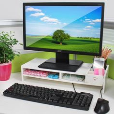 Home Office Desk Tidy PC Computer Monitor LCD TV Stand Riser Keyboard Shelf Rack