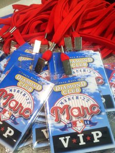Baseball themed Bar Mitzvah. VIP lanyards for kids. They loved them.
