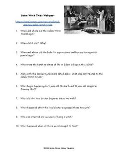 Salem Witch Trials Webquest by Middle School History Travelers Middle School History, Salem Witch Trials, Teaching History, Teacher Newsletter