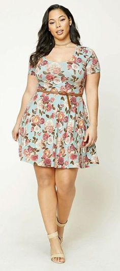 Vestidos con estampado floral para chicas plus size comoorganizarlaca. Looking for a Permanent Remedy for Bow Legs - Without the Need for Surgery? Looks Plus Size, Look Plus, Curvy Plus Size, Dress Outfits, Dress Up, Cute Outfits, Fashion Outfits, Fashion 2017, Skater Dress