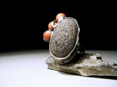 Beach Stone Ring - Sea Stone Jewelry - Baltic Beach Stone and Coral - Tiffany Technique - Good Energy