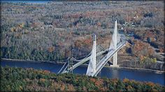 These are rotating photos of the Penobscot Narrows Bridge Observatory