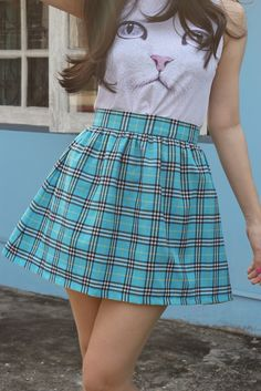 Image of GFD Blue Tartan Mini Skirt