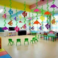 How to Make Underwater Birthday Party Decorations on a Budget Birthday Ideas Kids Crafts, Sea Crafts, Summer Crafts, Preschool Crafts, Under The Sea Theme, Under The Sea Party, Decoration Creche, Classroom Decoration Ideas, Preschool Decorations