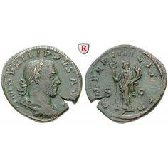 Römische Kaiserzeit, Philippus I., Sesterz, ss: Philippus I. 244-249. Messing-Sesterz Rom. Büste r. mit Lorbeerkranz IMP M IVL… #coins