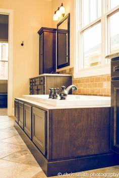 HomeCrest Cabinetry, Jordan Maple Buckboard Finish, Master Bath, Tub  Surround, His And