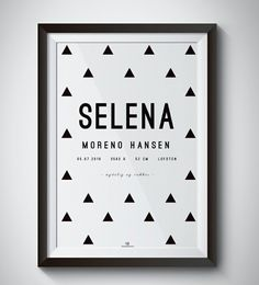 TRIANGLE birth print MODERN personalize  with name - date - place - weight - length - time - and color of print.  Perfect gift for babies, baptism gift, baby shower, newborn, name print, personalized  moldvarp design www.moldvarpdesign.no