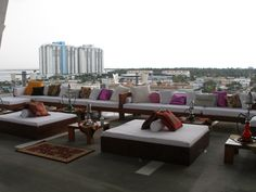 Moroccan inspired lounge on top of 11 11, Lincoln Road // Event Furniture Rentals